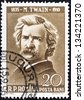 "ROMANIA - CIRCA 1960: A stamp printed in Romania from the ""Cultural Anniversaries"" issue shows Mark Twain (writer, 50th death anniversary), circa 1960. - stock photo"