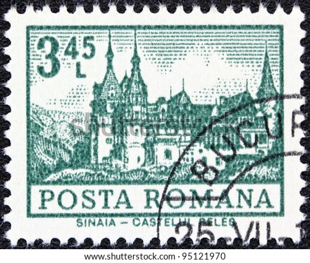"ROMANIA - CIRCA 1972: A stamp printed in Romania from the ""Definitives I - Buildings"" shows Peles Castle, Sinaia, circa 1972."