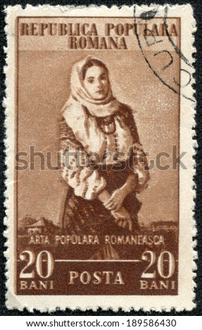 "ROMANIA - CIRCA 1953: A stamp printed in Romania from the ""Romanian Art"" issue shows Campulung peasant girl, circa 1953. - stock photo"
