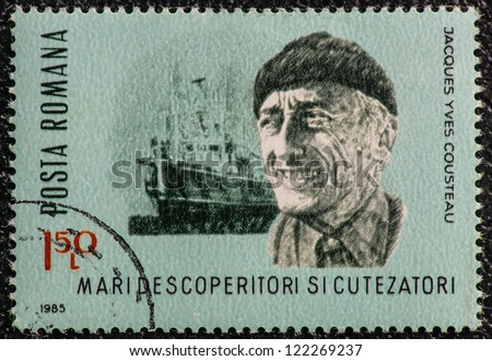 ROMANIA - CIRCA 1985: A stamp printed in Romania, show Jacques Yves Cousteau, a French naval officer, explorer, filmmaker, innovator, scientist and researcher with his vessel Calypso, circa 1985