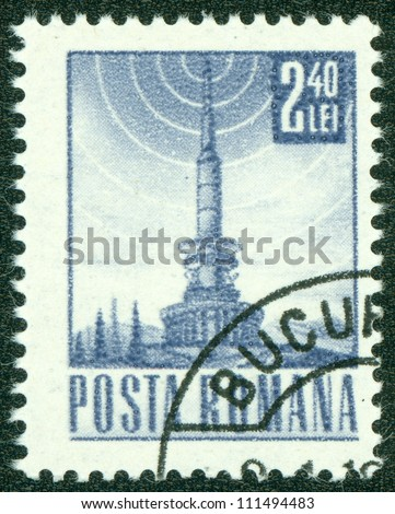 ROMANIA - CIRCA 1969: A stamp printed in Romania showing transmitting station, circa 1969