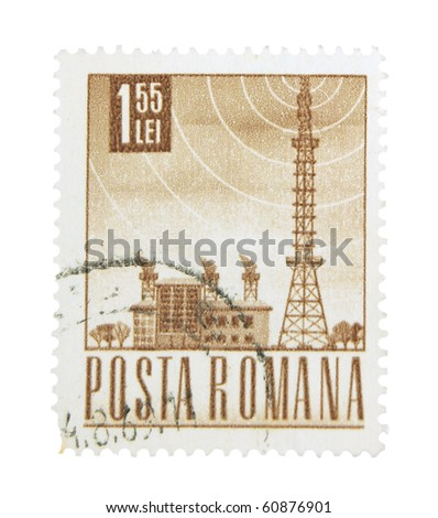 ROMANIA - CIRCA 1969: A stamp printed in Romania showing transmitting station, circa 1969 - stock photo