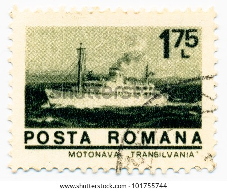 "ROMANIA - CIRCA 1974: A stamp printed in Romania shows a luxury passenger ships of Romanian maritime fleet ""Transylvania"", circa 1974"