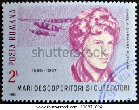 ROMANIA - CIRCA 1985: A stamp printed in Romania shows Amelia Earhart Putnam, circa 1985 - stock photo