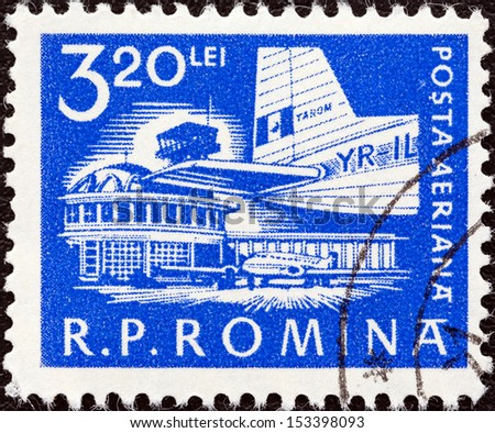 ROMANIA - CIRCA 1960: A stamp printed in Romania shows Baneasa Airport, Bucharest, circa 1960.