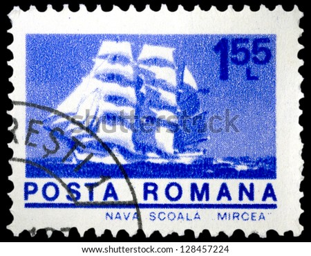 "ROMANIA - CIRCA 1974: A stamp printed in Romania shows Cadet barque ""Mircea"", with the same inscription, from the series ""Ships"", circa 1974"