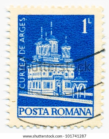 ROMANIA - CIRCA 1973: A stamp printed in Romania shows Curtea-de-Arges Monastery, circa 1973