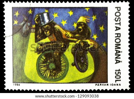 "ROMANIA - CIRCA 1994: A stamp printed in Romania, shows Cycling monkeys in Circus, without inscription, from the series ""Circus"", circa 1994"