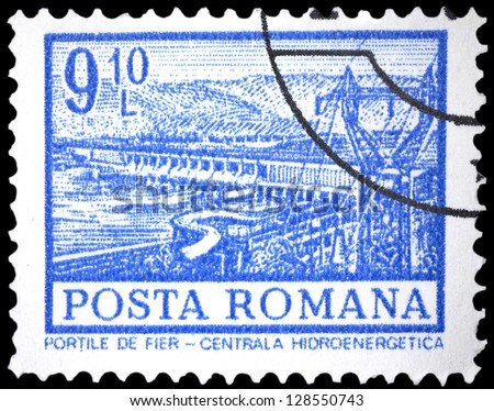 "ROMANIA - CIRCA 1972: A stamp printed in Romania shows Hydro-electric power station, Iron Gates, with the same inscription, from the series ""Buildings"", circa 1972"