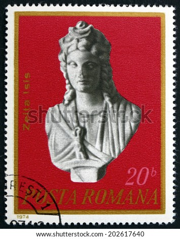 ROMANIA - CIRCA 1974: a stamp printed in Romania shows Isis, First Century A.D., Archaeological Art Works Excavated in Romania, circa 1974 - stock photo