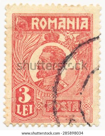 ROMANIA - CIRCA 1924: A stamp printed in Romania shows King Ferdinand (1865-1927), circa 1924 - stock photo
