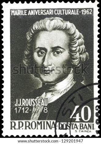 "ROMANIA - CIRCA 1962: A stamp printed in Romania, shows portrait of Jean Jacques Rousseau (writers), with the same inscription, series ""Cultural Anniversaries (250th birth anniversary)"", circa 1962"