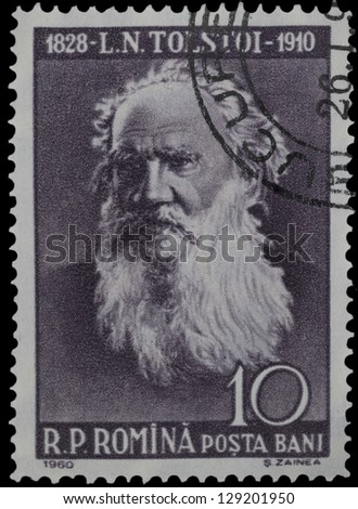 "ROMANIA - CIRCA 1960: A stamp printed in Romania, shows portrait of Leo Tolstoy (writer), with the same inscription, from the series ""Cultural Anniversaries (50th death anniversary)"", circa 1960"