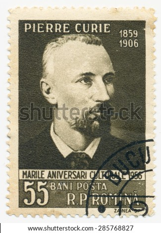 ROMANIA - CIRCA 1956: A stamp printed in Romania shows portrait of the Pierre Curie (1859-1908) was a French physicist, circa 1956