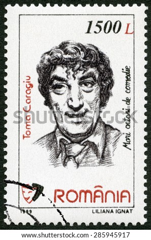 ROMANIA - CIRCA 1999: A stamp printed in Romania shows Toma Caragiu (1925-1977), series Comic Actors, circa 1999