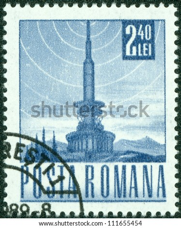 ROMANIA - CIRCA 1968: A stamp printed in the Romania, depicts a television tower and the the symbol of broadcast signal, circa 1968 - stock photo