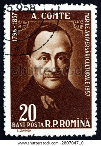 ROMANIA - CIRCA 1958: a stamp printed in the Romania shows Auguste Comte, French Philosopher, Founder of the Discipline of Sociology, circa 1958 - stock photo