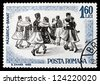 ROMANIA - CIRCA 1966: a stamp printed in the Romania shows Folk Dancers of Banat, Traditional Folk Dance, circa 1966 - stock photo