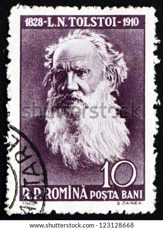 ROMANIA - CIRCA 1960: a stamp printed in the Romania shows Leo Tolstoy, Lev Nikolayevich Tolstoy, Russian Writer, circa 1960