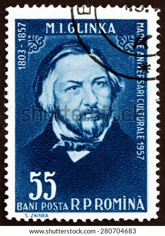 ROMANIA - CIRCA 1958: a stamp printed in the Romania shows Mikhail Ivanovich Glinka, Russian Composer, circa 1958