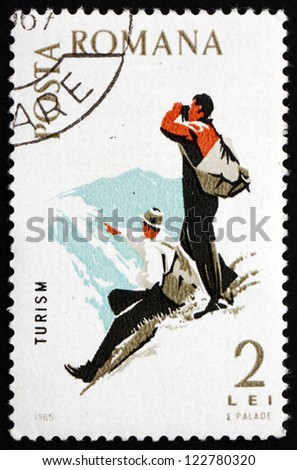 ROMANIA - CIRCA 1965: a stamp printed in the Romania shows Mountaineering, Spartacist Games, circa 1965 - stock photo