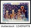 ROMANIA - CIRCA 1969: a stamp printed in the Romania shows Stephen the Great and Family, Fresco from Voronet Monastery, Wall Painting, circa 1969 - stock photo