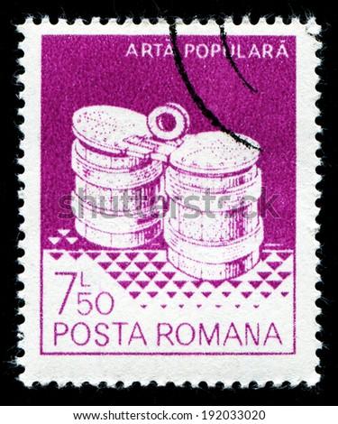 ROMANIA - CIRCA 1982: A stamp printed in the Romania, shows the barrels, from Marginea, circa 1982 - stock photo