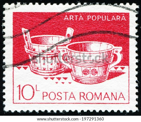 ROMANIA - CIRCA 1982: A stamp printed in the Romania, shows two wooden wash, from Marginea, circa 1982 - stock photo