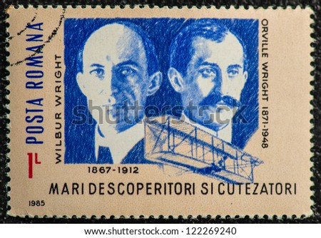 ROMANIA - CIRCA 1985: stamp printed by Romania, show Orville and Wilbur Wright, two American brothers, inventors, and aviation pioneers, circa 1985. - stock photo