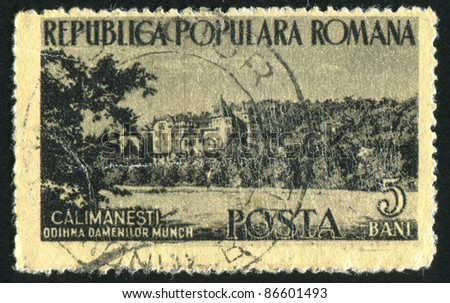 ROMANIA - CIRCA 1954: stamp printed by Romania, shows Calimanesti Rest Home, circa 1954