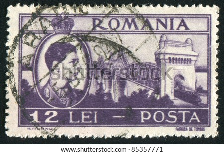 ROMANIA - CIRCA 1947: stamp printed by Romania, shows Cernavoda Bridge, circa 1947