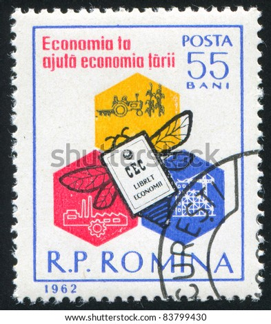 ROMANIA - CIRCA 1961: stamp printed by Romania, shows Honeycomb, bee and savings book, circa 1961