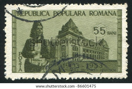 ROMANIA - CIRCA 1953: stamp printed by Romania, shows Postal  and Letter carrier, circa 1953
