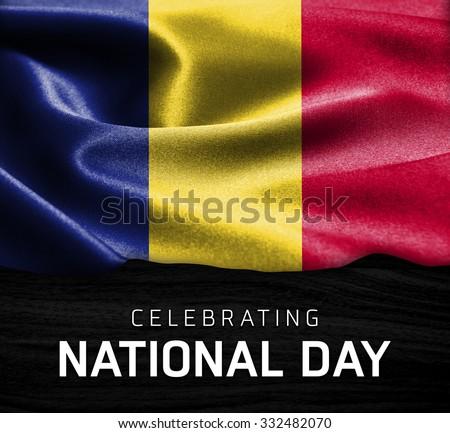 Romania flag and Celebrating National Day Typography on wood background - stock photo
