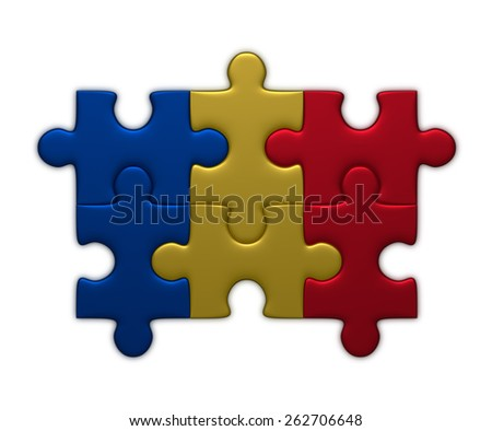 Romania flag assembled of puzzle pieces isolated on white background - stock photo