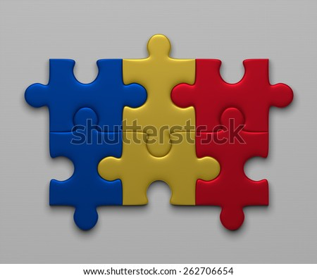 Romania flag assembled of puzzle pieces on gray background - stock photo