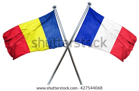 Romania flag  combined with france flag - stock photo