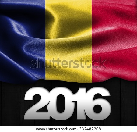 Romania Flag & Happy New Year 2016 typography on wood texture background - stock photo