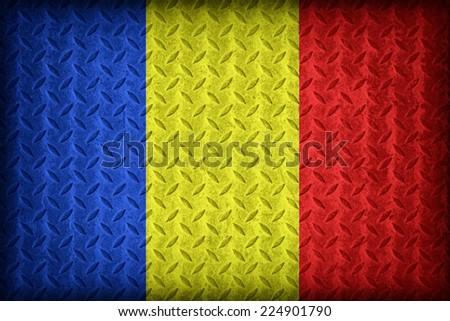 Romania flag pattern on the diamond metal plate texture ,vintage style - stock photo