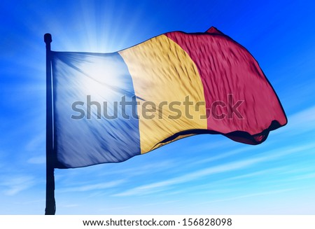 Romania flag waving on the wind - stock photo