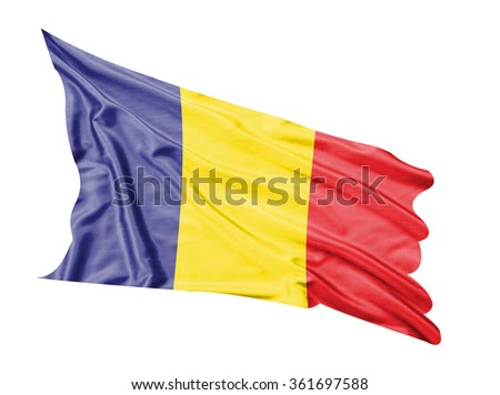 Romania flag waving  on white  background.