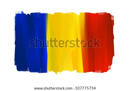 Romania hand painted national flag isolated on white