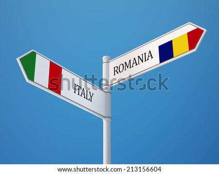 Romania Italy High Resolution Sign Flags Concept