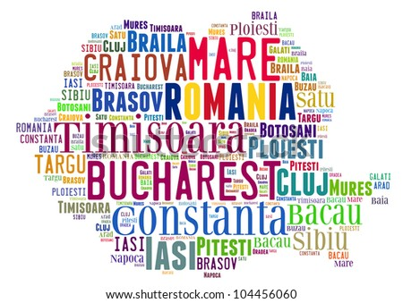 Romania map and words cloud with larger cities - stock photo