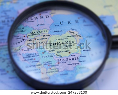 Romania map close up - stock photo