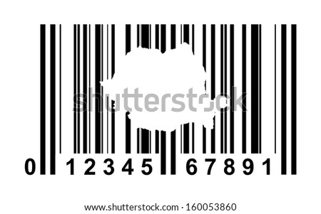 Romania shopping bar code isolated on white background.