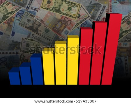 Romanian flag bar chart over dollars and Euros background 3d illustration