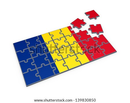 Romanian flag made of puzzles.Isolated on white.3d rendered. - stock photo