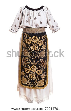 romanian folklore woman's shirt and skirt isolated on white - stock photo