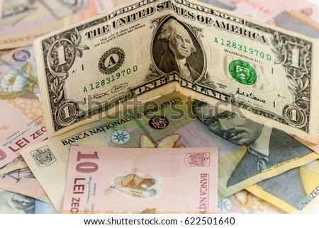 Romanian Leu Currency Bills One Dollar Stock Photo Royalty Free